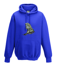 JanaRoos - Hoodies - Kids Hoodie - Packshot - Hand drawn illustration - Round neck - Long sleeves - Cotton - royal blue - royaal blauw - iguana - igujana - colored - gekleurd