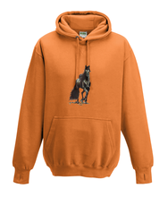 JanaRoos - Hoodies - Kids Hoodie - Packshot - Hand drawn illustration - Round neck - Long sleeves - Cotton - orange - oranje - horse - black merrie - paard