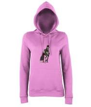 JanaRoos - women's Hoodie - Packshot - Hand drawn illustration - Round neck - Long sleeves - Cotton -baby pink- Black merrie-horse