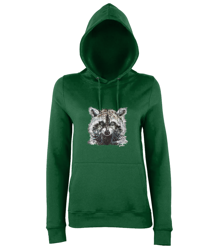 JanaRoos - women's Hoodie - Packshot - Hand drawn illustration - Round neck - Long sleeves - Cotton - forest green - raccoon