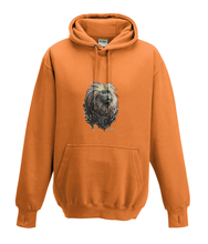 JanaRoos - Hoodies - Kids Hoodie - Packshot - Hand drawn illustration - Round neck - Long sleeves - Cotton - orange - orangje - golden lion monkey - leeuwaapje