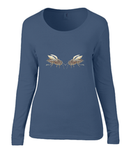 Women T-shirt -  organic cotton - long sleeved - round neck - navy blue - marine blauw - printdesign - drawing - JanaRoos - honey bee - honing bij