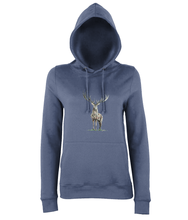 JanaRoos - women's Hoodie - Packshot - Hand drawn illustration - Round neck - Long sleeves - Cotton - airforce blue - deer colored