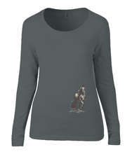 Women T-shirt -  organic cotton - long sleeved - round neck - black - zwart - printdesign - drawing - JanaRoos - horse - black merrie