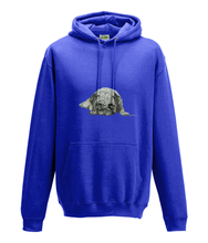 JanaRoos - Hoodie - Packshot - Hand drawn illustration - Round neck - Long sleeves - Cotton -royal blue -pugg- mops