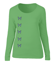 Women T-shirt -  organic cotton - long sleeved - round neck - green - groen - printdesign - drawing - JanaRoos - butterflies - vlinders