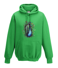JanaRoos - Hoodies - Kids Hoodie - Packshot - Hand drawn illustration - Round neck - Long sleeves - Cotton - kelly green - gras groen - peacock - pauw