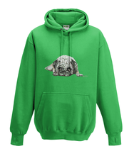JanaRoos - Hoodies - Kids Hoodie - Packshot - Hand drawn illustration - Round neck - Long sleeves - Cotton - kelly green - gras groen - pugg - mops - dog - hond
