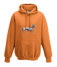 JanaRoos - Hoodies - Kids Hoodie - Packshot - Hand drawn illustration - Round neck - Long sleeves - Cotton - orange - oranje - dachshund - teckel - dog - hond