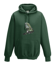 JanaRoos - Hoodies - Kids Hoodie - Packshot - Hand drawn illustration - Round neck - Long sleeves - Cotton - forest green - mos groen - iguana - igujana - colored - gekleurd