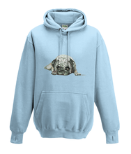 JanaRoos - Hoodies - Kids Hoodie - Packshot - Hand drawn illustration - Round neck - Long sleeves - Cotton - sky blue - hemels blauw - pugg - mops - dog - hond