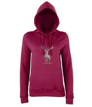 JanaRoos - women's Hoodie - Packshot - Hand drawn illustration - Round neck - Long sleeves - Cotton - red hot chilli- deer colored