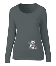 Women T-shirt -  organic cotton - long sleeved - round neck - black - zwart - printdesign - drawing - JanaRoos -Panda bear - beer