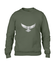 JanaRoos - T-shirts and Sweaters - Sweater - Packshot - Hand drawn illustration - Round neck - Long sleeves - Cotton - city green - khaki - snowy owl - sneeuwuil