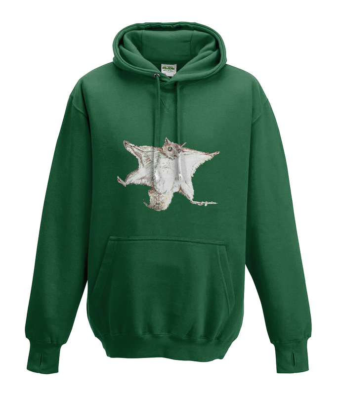 JanaRoos - Hoodies - Kids Hoodie - Packshot - Hand drawn illustration - Round neck - Long sleeves - Cotton - bottle green - fles groen- flying squirrel - vliegende eekhoorn