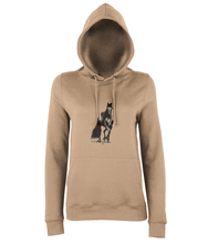 JanaRoos - women's Hoodie - Packshot - Hand drawn illustration - Round neck - Long sleeves - Cotton -nude- Black merrie-horse