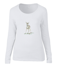 Women T-shirt -  organic cotton - long sleeved - round neck - black - zwart - printdesign - drawing - JanaRoos - white - wit - bambi - baby deer - hert