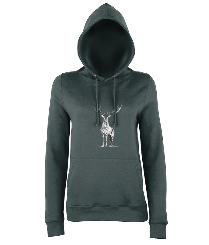 JanaRoos - women's Hoodie - Packshot - Hand drawn illustration - Round neck - Long sleeves - Cotton -charcoal grey - deer- black&white