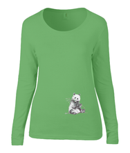 Women T-shirt -  organic cotton - long sleeved - round neck - green - groen - printdesign - drawing - JanaRoos -Panda bear - beer