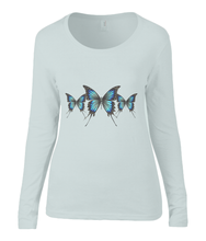 Women T-shirt -  organic cotton - long sleeved - round neck - silver grey - zilver grijs - printdesign - drawing - JanaRoos - butterflies - vlinders