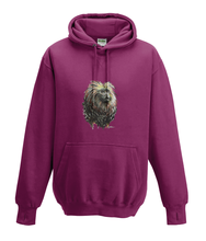 JanaRoos - Hoodies - Kids Hoodie - Packshot - Hand drawn illustration - Round neck - Long sleeves - Cotton - burgundy - paars- golden lion monkey - leeuwaapje