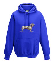 JanaRoos - Hoodies - Kids Hoodie - Packshot - Hand drawn illustration - Round neck - Long sleeves - Cotton - royal blue - marine blauw - dachshund - teckel - dog - hond