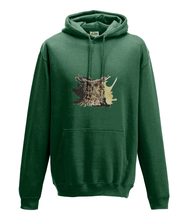 JanaRoos - Hoodie - Packshot - Hand drawn illustration - Round neck - Long sleeves - Cotton - bottle green - coffee owl - koffieuil