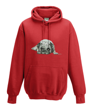 JanaRoos - Hoodies - Kids Hoodie - Packshot - Hand drawn illustration - Round neck - Long sleeves - Cotton - fire red - vuur rood - pugg - mops - dog - hond