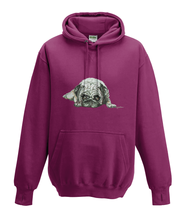 JanaRoos - Hoodies - Kids Hoodie - Packshot - Hand drawn illustration - Round neck - Long sleeves - Cotton - burgundy - paars- pugg - mops - dog - hond
