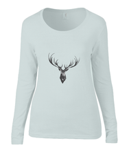 Women T-shirt -  organic cotton - long sleeved - round neck - silver grey - zilver grijs - printdesign - drawing - JanaRoos - reindeer - deer - rendier - hert