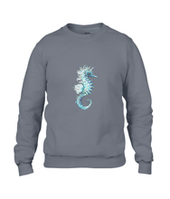 JanaRoos - T-shirts and Sweaters - Sweater - Packshot - Hand drawn illustration - Round neck - Long sleeves - Cotton - charcoal - grijs - Sea-Horse - Zeepaardje