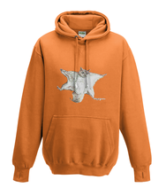 JanaRoos - Hoodies - Kids Hoodie - Packshot - Hand drawn illustration - Round neck - Long sleeves - Cotton - orange - oranje - flying squirrel - vliegende eekhoorn