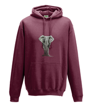 JanaRoos - Hoodie - Packshot - Hand drawn illustration - Round neck - Long sleeves - Cotton - brick red - olifant - elephant