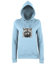 JanaRoos - women's Hoodie - Packshot - Hand drawn illustration - Round neck - Long sleeves - Cotton - sky blue - raccoon