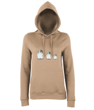 JanaRoos - women's Hoodie - Packshot - Hand drawn illustration - Round neck - Long sleeves - Cotton - nude - penguins