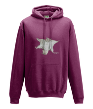 JanaRoos - Hoodie - Packshot - Hand drawn illustration - Round neck - Long sleeves - Cotton -burgundy - flying squirrel - vliegende eekhhoorn