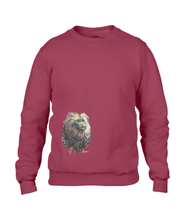 JanaRoos - T-shirts and Sweaters - Unisex Sweater - Packshot - Hand drawn illustration - Round neck - Long sleeves - Cotton - independence red - diep rood - lion tamarin monkey  - leeuwaapje