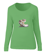 Women T-shirt -  organic cotton - long sleeved - round neck - apple green - appel groen - printdesign - drawing - JanaRoos  - fox - foxy - vos