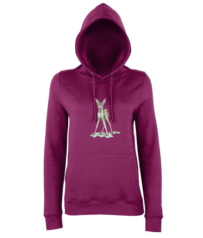 JanaRoos - women's Hoodie - Packshot - Hand drawn illustration - Round neck - Long sleeves - Cotton - burgundy - bambi