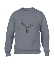 JanaRoos - Unisex sweater - Hand drawn illustration - Print design -black ink - zwarte inkt - charcoal - grijs -  Reindeer - deer - rendier - hert
