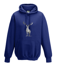 JanaRoos - Hoodies - Kids Hoodie - Packshot - Hand drawn illustration - Round neck - Long sleeves - Cotton - oxford navy blue - marine blauw - deer - reindeer - hert - rendier - black/white - zwart/wit