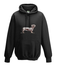 JanaRoos - Hoodies - Kids Hoodie - Packshot - Hand drawn illustration - Round neck - Long sleeves - Cotton - black - zwart- dachshund - teckel - dog - hond