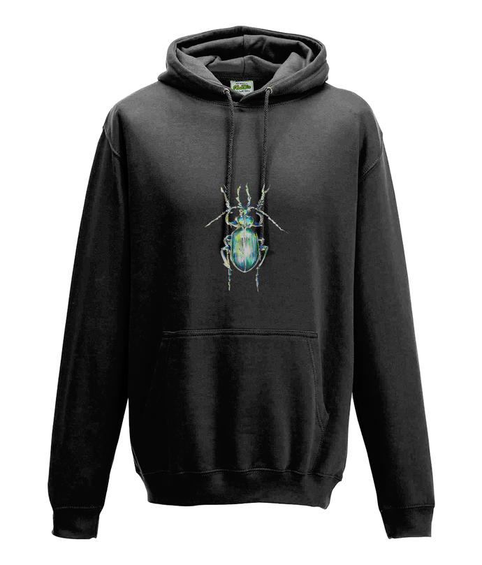 JanaRoos - Hoodie - Packshot - Hand drawn illustration - Round neck - Long sleeves - Cotton - jet black - zwart - beetle - kever