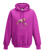 JanaRoos - Hoodies - Kids Hoodie - Packshot - Hand drawn illustration - Round neck - Long sleeves - Cotton - hot pink - roos - flamingo's