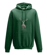 JanaRoos - Hoodie - Packshot - Hand drawn illustration - Round neck - Long sleeves - Cotton -forest green - deer
