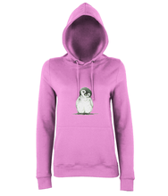 JanaRoos - women's Hoodie - Packshot - Hand drawn illustration - Round neck - Long sleeves - Cotton - candyfloss pink- penguin