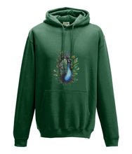JanaRoos - Hoodie - Packshot - Hand drawn illustration - Round neck - Long sleeves - Cotton - bottle green- peacock - pauw