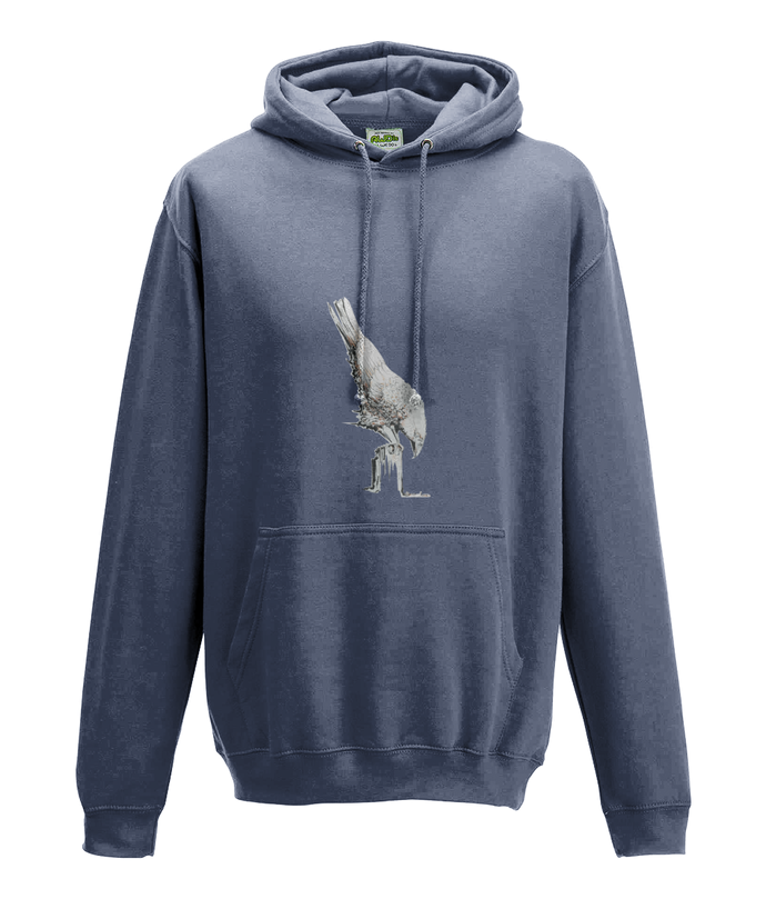 JanaRoos - Hoodie - Packshot - Hand drawn illustration - Round neck - Long sleeves - Cotton -airforce blue- White raven - witte raaf