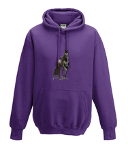 JanaRoos - Hoodies - Kids Hoodie - Packshot - Hand drawn illustration - Round neck - Long sleeves - Cotton - purple - paars- horse - black merrie - paard