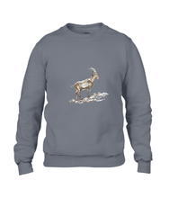 JanaRoos - T-shirts and Sweaters - Sweater - Packshot - Hand drawn illustration - Round neck - Long sleeves - Cotton - charcoal - grijs - gems - mountain goat - berggeit